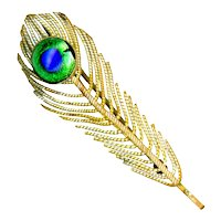 Brooch--Early 20th C. Brass Peacock Eye Jeweled Feather