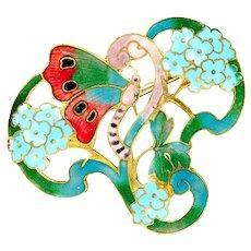 Brooch--Large Art Nouveau Matte Enamel Butterfly