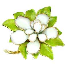 Brooch--Large Vintage Hattie Carnegie Poured Glass Magnolia