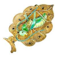 Brooch--Vintage Silver Vermeil Filigree and Enamel Grasshopper