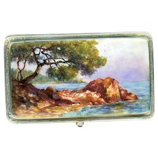 Exquisite Arts & Crafts Seaside Enamel on Sterling Silver Calling Card Case
