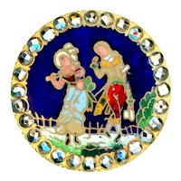 Button--Late 19th C. Champleve Enamel Incroyable and Merveilleuse (French Fops)