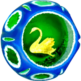 Button--Vintage Cased Cutaway Paperweight with Gold Foil Swan