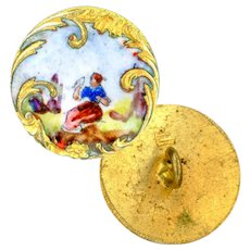 Button--Small Late 19th Hand Painted Figural Enamel in Rococo Brass