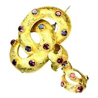 Brooch--Mid-19th C. 14 Karat Gold and Garnets with Dangle