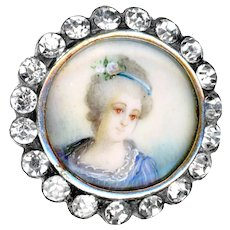 Button--19th C. Lady in Blue Portrait Under Glass in Silver with Rhinestones