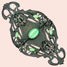 Buckle--Huge Piel Freres Belle Epoch in Bronze with Jade Glass Cabochons
