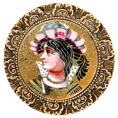 Button--Large Late 19th C. Renaissance Man Enamel on Brass
