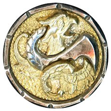 Button--Large Mid-19th C. Brass and Steel Mythical Beast in Steel Cup