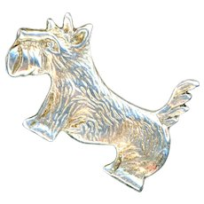 Brooch--Vintage Scotty Dog in Cast Sterling Silver