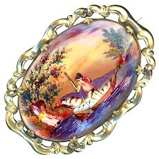 Brooch--Mid-19th C. Painting of Asian Boatman on Pearl Under Glass in Gold-plated Brass