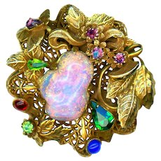 Brooch or Pendant--Large Vintage Brass Filigree and Opalescent Glass Flora-foliate