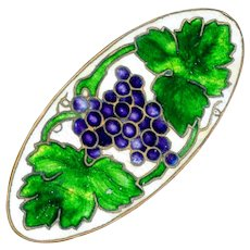 Brooch--Vintage Champleve Enamel on Brass Purple Grapes