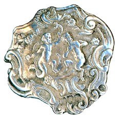 Button--Early 20th C. English Sterling Rococo Asymmetric Putto & Pan