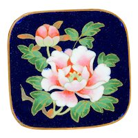 Brooch--Outstanding Large Chinese Fine Cloisonne Enamel Peonies in Copper