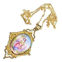 Necklace--Vintage Victorian Revival Hand Painted Enamel Pendant and Locket