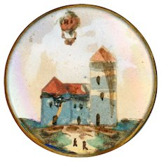 Button--Late 18th C. Georgian Decoupage Aerial Balloon and Chateau Under Glass