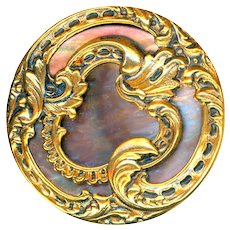 Button--Large Late 19th C. Copper Rococo Scrolls over Iridescent Pearl in Brass