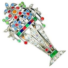 Dress Clip--Art Deco Sterling Silver & Rhinestone Giardinetti