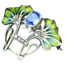 Brooch--Plique-a-jour Enamel and Pearls in Silver--Hermann & Speck Pforzheim