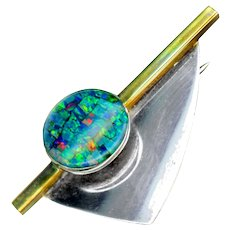Brooch--Modern Opal Mosaic Under Crystal in Sterling Silver & Brass