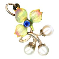 Pendant--Early 20th C. Jugendstil Iridescent Enamel, Sapphire, Pearls in 14 Karat Pink Gold