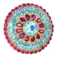 Brooch--Large Vintage Signed Hobe Ruby & Aquamarine Glass Jewels in Vermeil