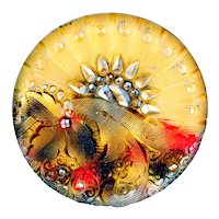 Button--Late 19th C. Lacy Glass Half and Half Floral Design--Medium