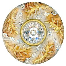 Button--Large Late 19th C. Lacy Glass Silver Gold Foliate 6-point Star