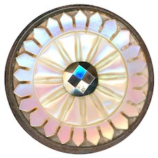 Button--Large Late 19th C. Carved Petal-edged Iridescent Pink Pearl in Steel Cup