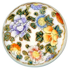 Button--Late 19th C. Satsuma Pottery Flowers in Fine Line Border with Curved Needle Shank