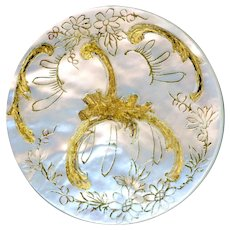 Button--Large Late 19th C. Rococo Engraved and Gilded White Pearl