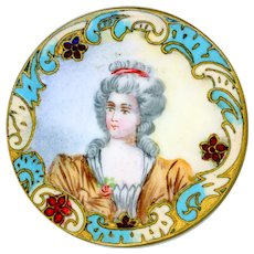 Button--Fine Large Late 19th C. Enamel Portrait of Lady in Rococo Champleve