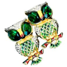 Brooches--Vintage Coco Duette Owls--Faux Emeralds & Diamonds--2 Fur Pins