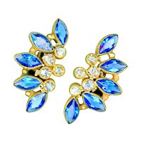 Earrings--Dazzling Vintage Sandor Faux Sapphires and Diamonds Glass Jewels