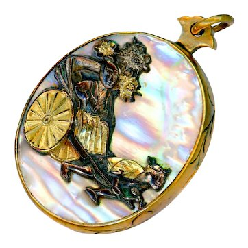 Locket--Late 19th C. Iridescent Abalone Pearl & Shakudo Escutcheon Rickshaw Figures