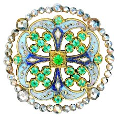 Button--Late 19th C. Neo-Renaissance Champleve Enamel, Cut Steels, and Jewels