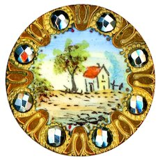 Button--Late 19th C. Polychrome Enamel Rustic Scene with Cut Steels