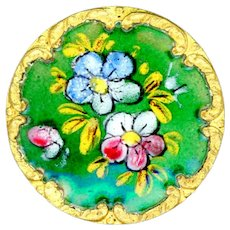 Button-- Late 19th C. Hand Painted Enamel Posies on Brass--Medium