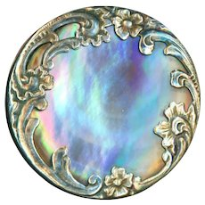 Button--Late 19th C. Paris Back Silver and Vividly Iridescent Pearl