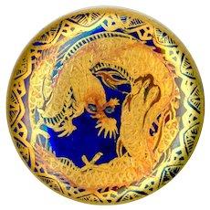 Button--Late 19th C. Fine Satsuma Pottery Golden Dragon on Cobalt & Lacy Border