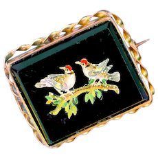 Brooch--Small 19th C. Glass Micromosaic Birds on Branch in Gold-plated Brass
