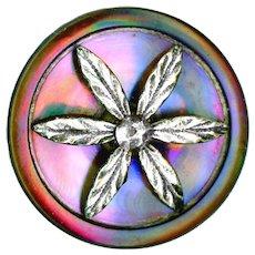 Button--Mid-19th C. Electric Pearl and Silver Foliate Escutcheon