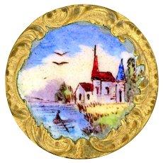Button--Late 19th C. Rococo Paris Emaux Peints Enamel Rustic Scene of Church