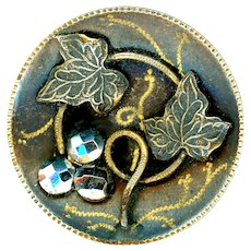 Button--Large Late 19th C. Tole Brass Leaves and Cut Steel Berries