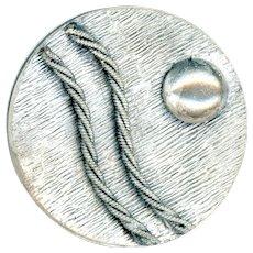 Button--Large Textured White Metal Modern Art Static/Dynamic Design