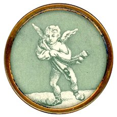 Button--Large 19th C. Lithograph Paper Cold Cherub in Blanket on Skates