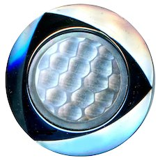 Button--Large Vintage Hematite Glass with Carved Pearl Inset