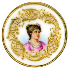 Button--Late 19th C. Hand Painted Rococo Gilt Border Portrait of Lady