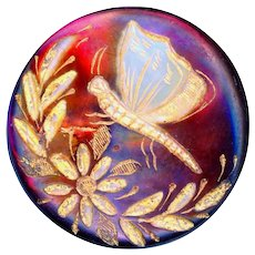 Button--19th C. Engraved, Gilded, and Tinted Pearl Butterfly on Flower